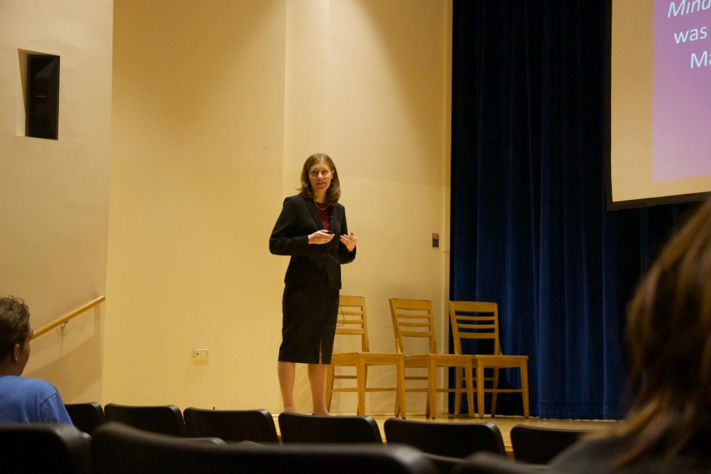 Bethany at a lecture